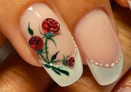 Rose Nail Art - Red And Bule Rose Nail Arthttp://nails-side - Rose Nail Art Graham Reid