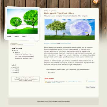 Eco Press Blogger Template. blogger template from wordpress theme