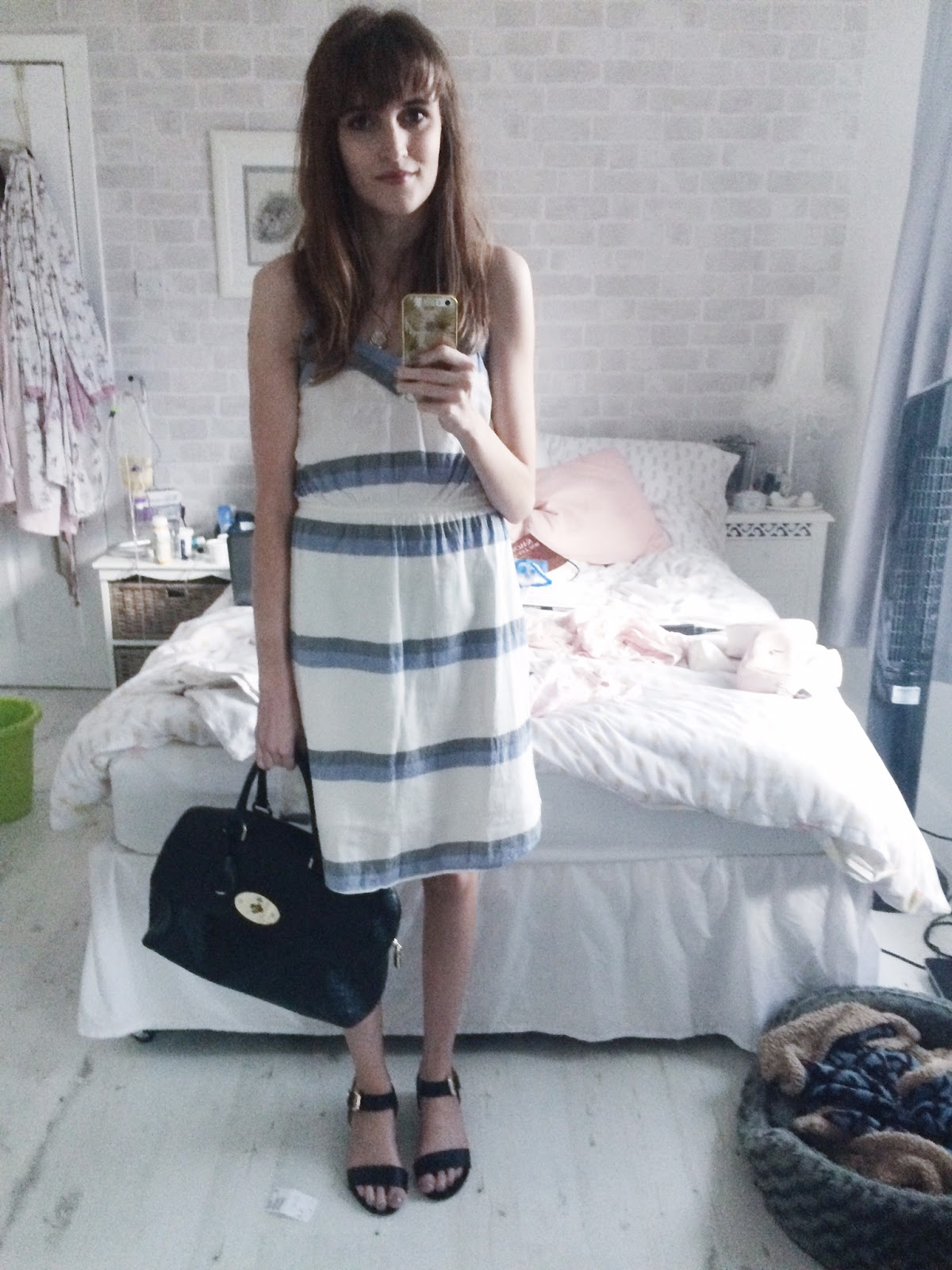 H&M striped dress blue white and grey