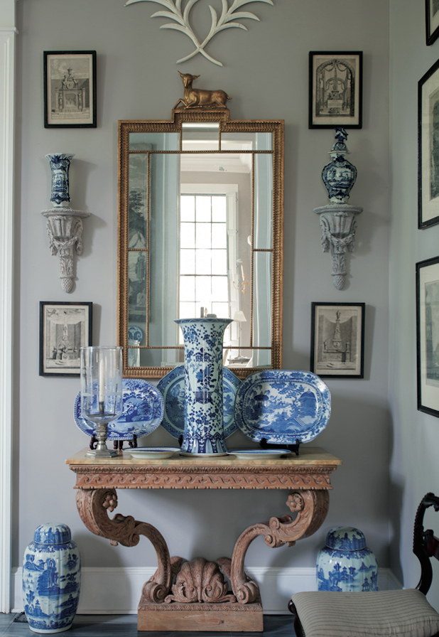 Furlow gatewood and a well designed life a flippen life for Decorating with blue and white pottery