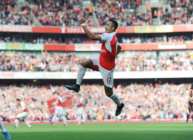 alexis sanchez goal celebration arsenal manchester united 2015