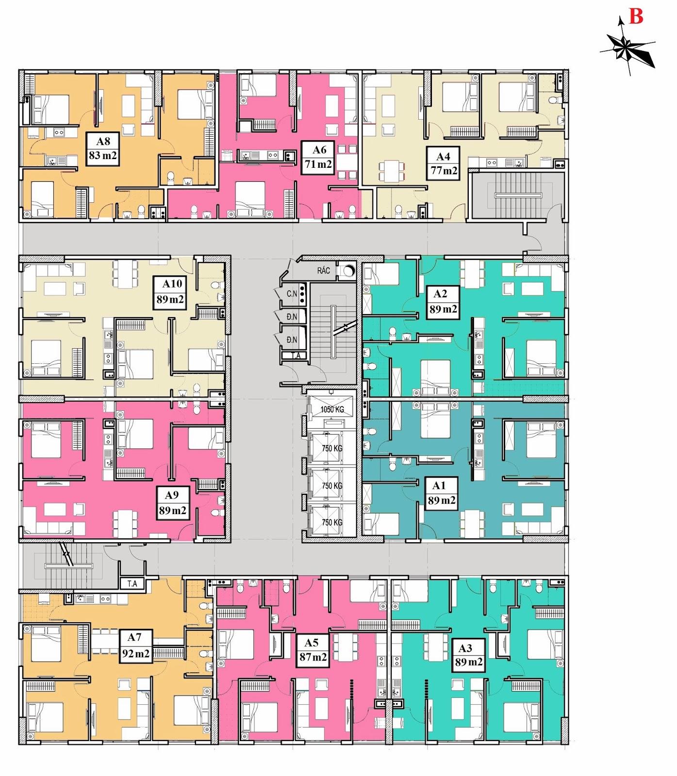 Chung cư 283 Khương Trung, Mặt bằng tầng 14-20