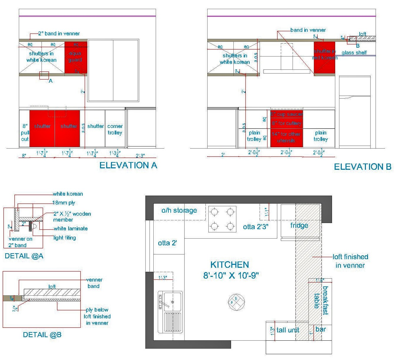 Kitchen Details Prepossessing Of Kitchen CabiDetail Section Elevation Image