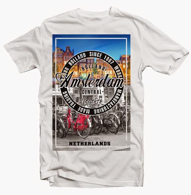 amsterdam city photo tshirt design