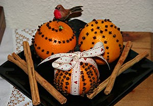 Decorações de Natal com laranja