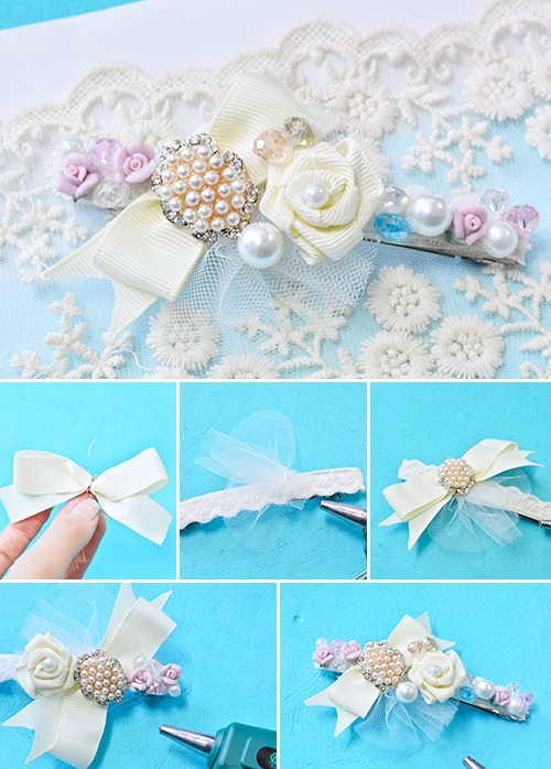 Make a hair Valletta flower with a ribbon and beads