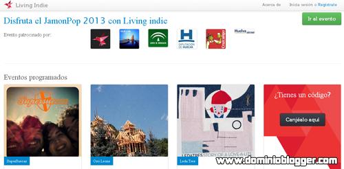 Mira conciertos en vivo gratis con Living Indie - www.dominioblogger.com