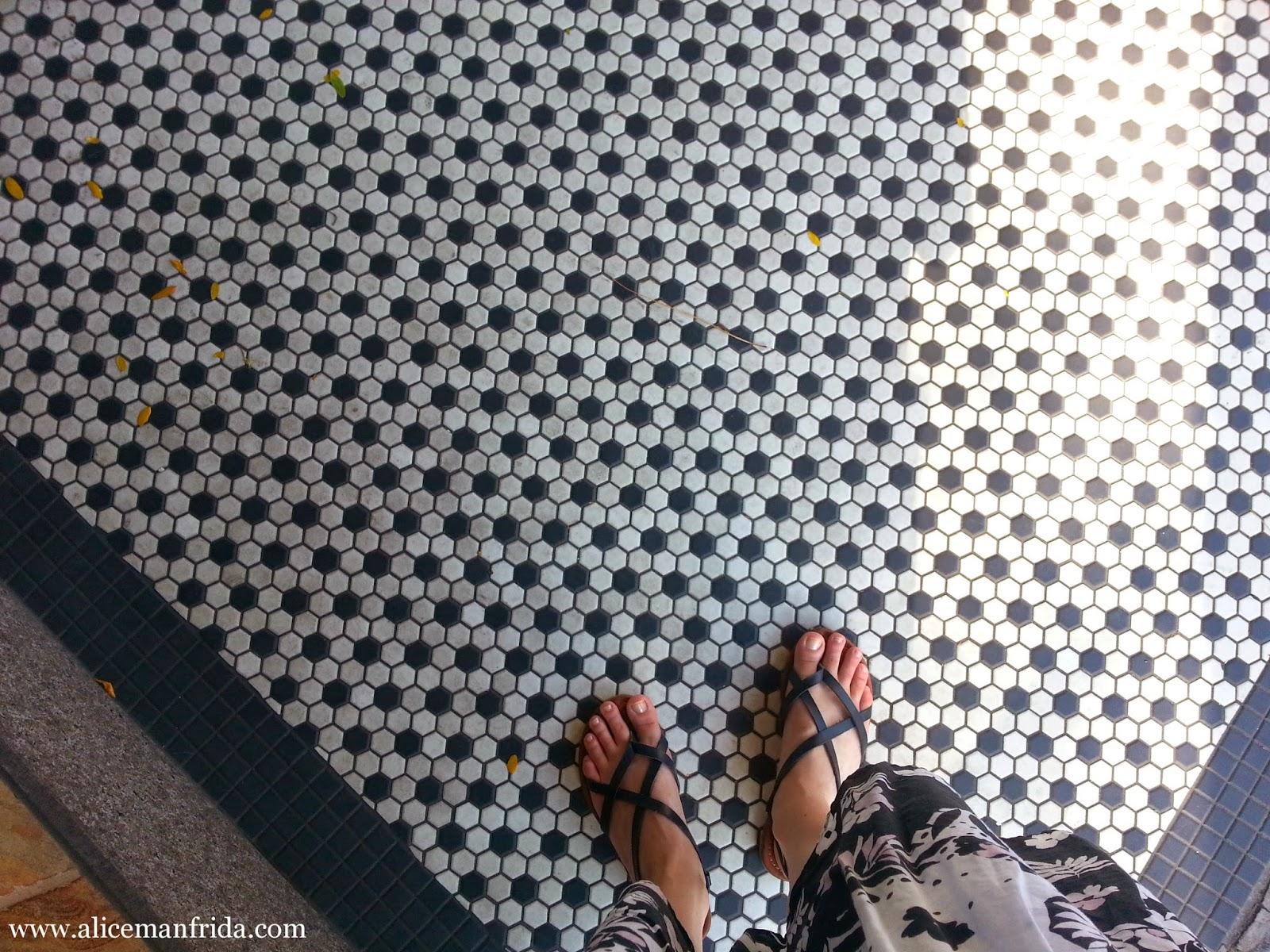 black, white, sandals, tile, leaves, city, street