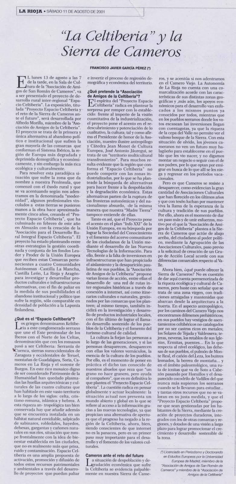La Celtiberia y la Sierra de Cameros, La Rioja, 11 de agosto de 2001.