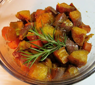 Roasted sweet potatoes & carrot with rosemary & peach marmalade