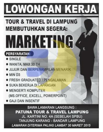 Lowongan Kerja PATUNA TOUR & TRAVEL Lampung, Sabtu 28 Maret 2015