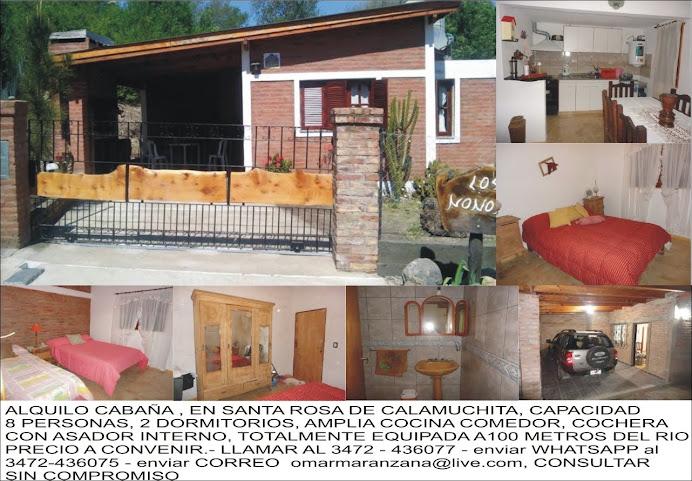 ESPACIO PUBLICITARIO: ALQUILER DE CABAÑA EN STA. ROSA DE CALAMUCHITA