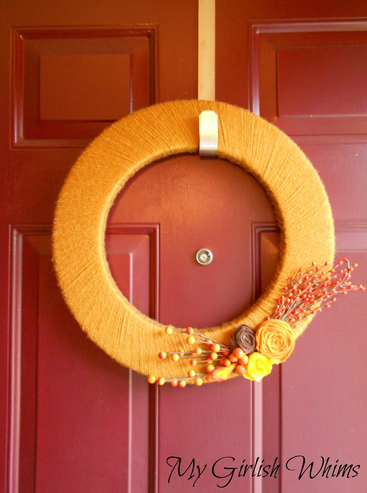 I started out with a Styrofoam wreath form and some yarn. Please note that  the yarn is called Vanna's Choice. What yarn and Vanna White have to do  with each ...