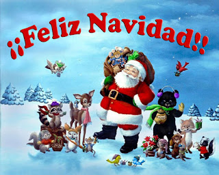 Santa con venados y muchos animales mas