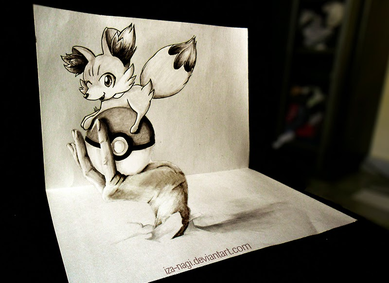 12-Fennekin-Izanagi-Aadi-aka-Iza-nagi-3D Pencil Drawings-www-designstack-co