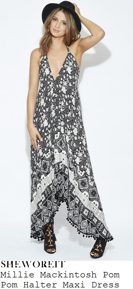 millie-mackintosh-black-white-mixed-print-sleeveless-pom-pom-maxi-dress