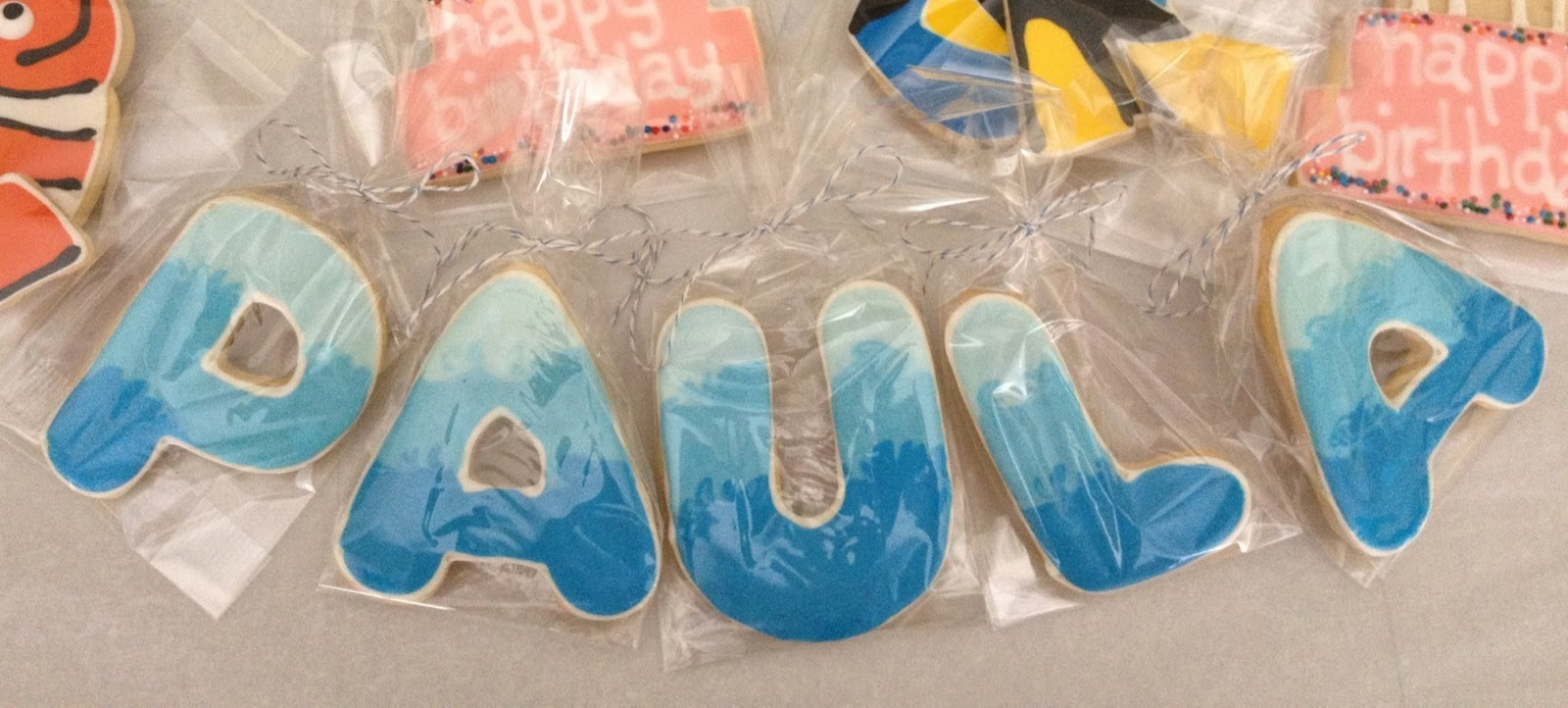 ... Paula's names and I tinted the royal icing in shades of ocean blue