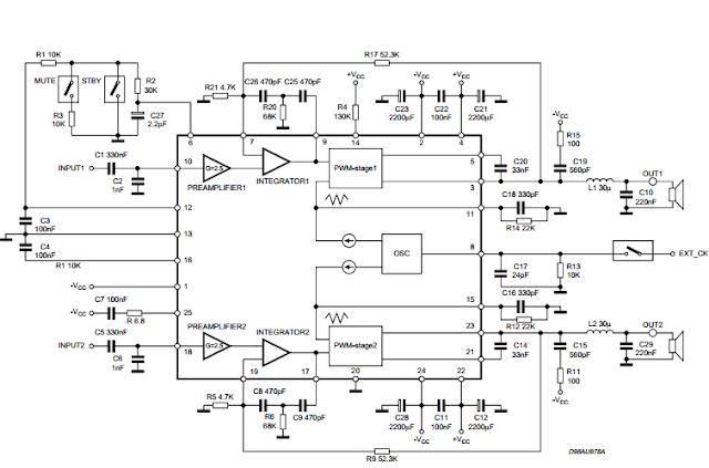 TDA7490 Audio Amplifier 2 x 25W / 1 x 50W circuit diagram