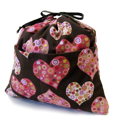 drawstring purse organizer, with heart pattern