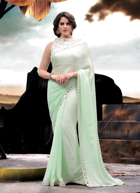 Mirror Work Pista Green Satin Jacquard Saree With Raw Silk Blouse