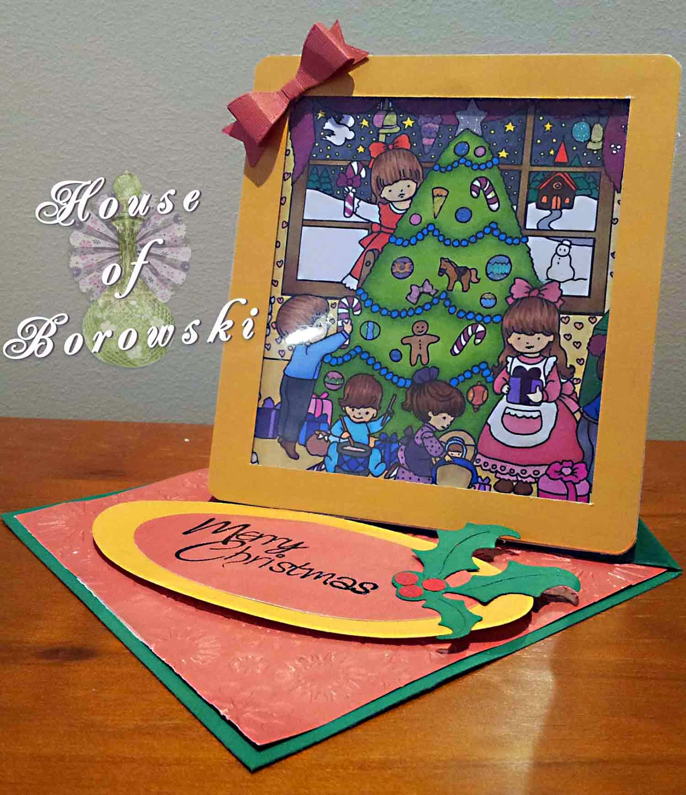 House of Borowski, christmas scene 2, cuttlebug snowflakes, spellbinders mega ovals, izzix christmas set 3, Lil'Inker Designs bow die-mini, Eclectic Images