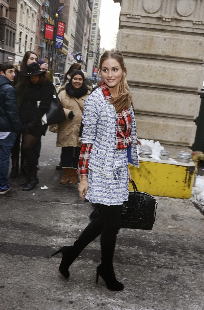 Olivia Palermo Wears Tartan to the Marchesa Show at NYFW - The Front ... ae7f6f42d55
