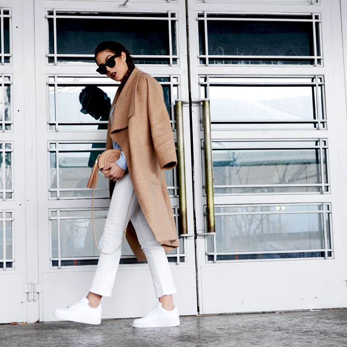 blog mode suisee, air force one white, nike, sneakers trend, swiss fashion blogger, camel coat oversized, gucci soho bag, Céline sunglasses, Schweizer bloggerin,