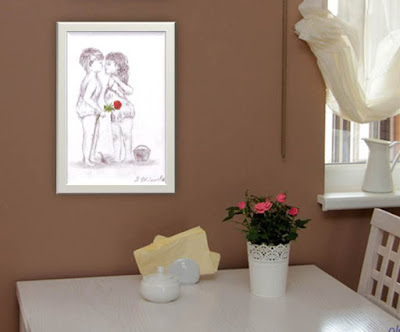 Vintage Digital Print First kiss Illustration Wall Art with Babies Download Instant