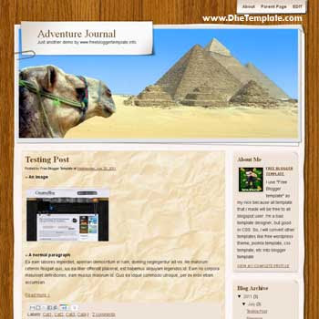 Adventure Journal blogger template convert WordPress to Blogger template