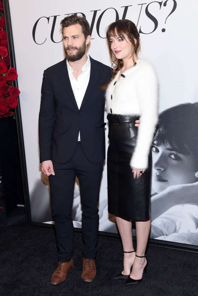 Dakota Johnson and Jamie Dornan at the Fifty Shades of Grey Screening in New York