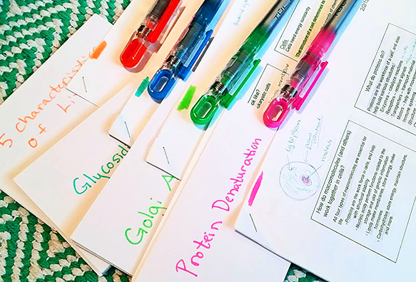 Color coding flashcards