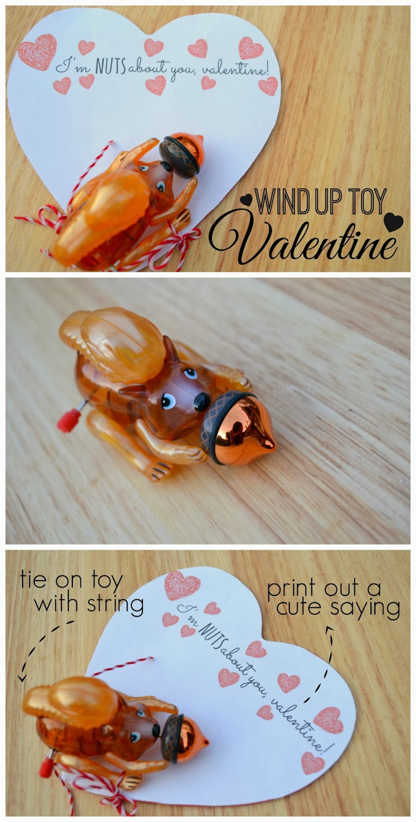 Mommy Testers, wind up toy valentine, zwindups valentine, squirrel valentine, nuts about you valentine, Kids toy valentine