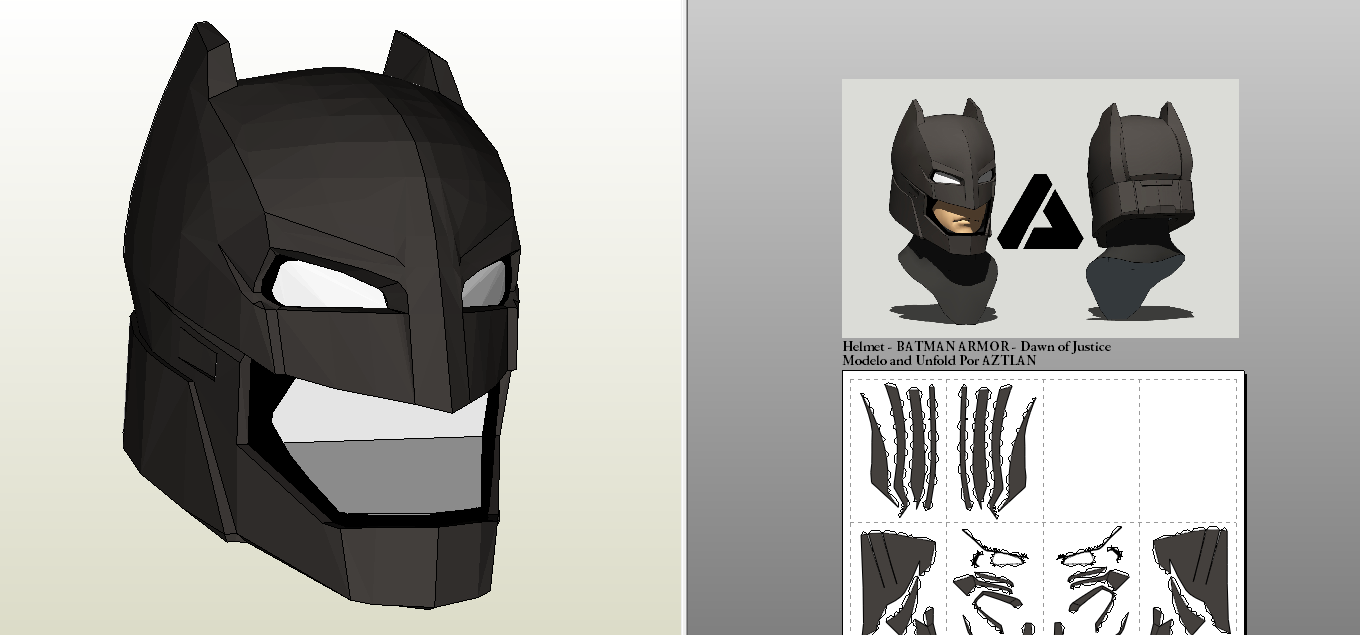 Batman Armor Pepakura Aztlan: batman armor - bvs: dawn of justice