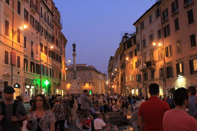 Piazza di Spagna or Spanish Square is the most famous meeting place in Rome, Italy