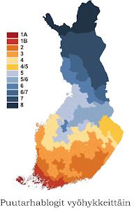 Karoliinan blogissa luettelo suomalaisista puutarhablogeista kasvuvyöhykkeittäin