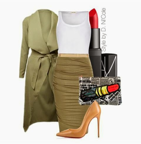 Polyvore set, olive, coat, winter, fall, nude pumps
