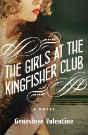 Cover art for The Girls At the Kingfisher Club, featuring a pale-skinned woman with bobbed blonde hair. She wears a fur-trimmed dress and a long string of pearls. The image crops away her eyes so she's only visible from the nose to about her waist.