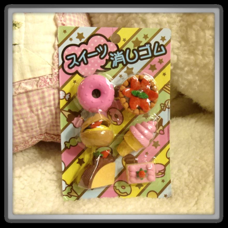 Oyatsu Cafe haul shoplog candy kawaii cute food eraser set ice cream cake donut hamburger