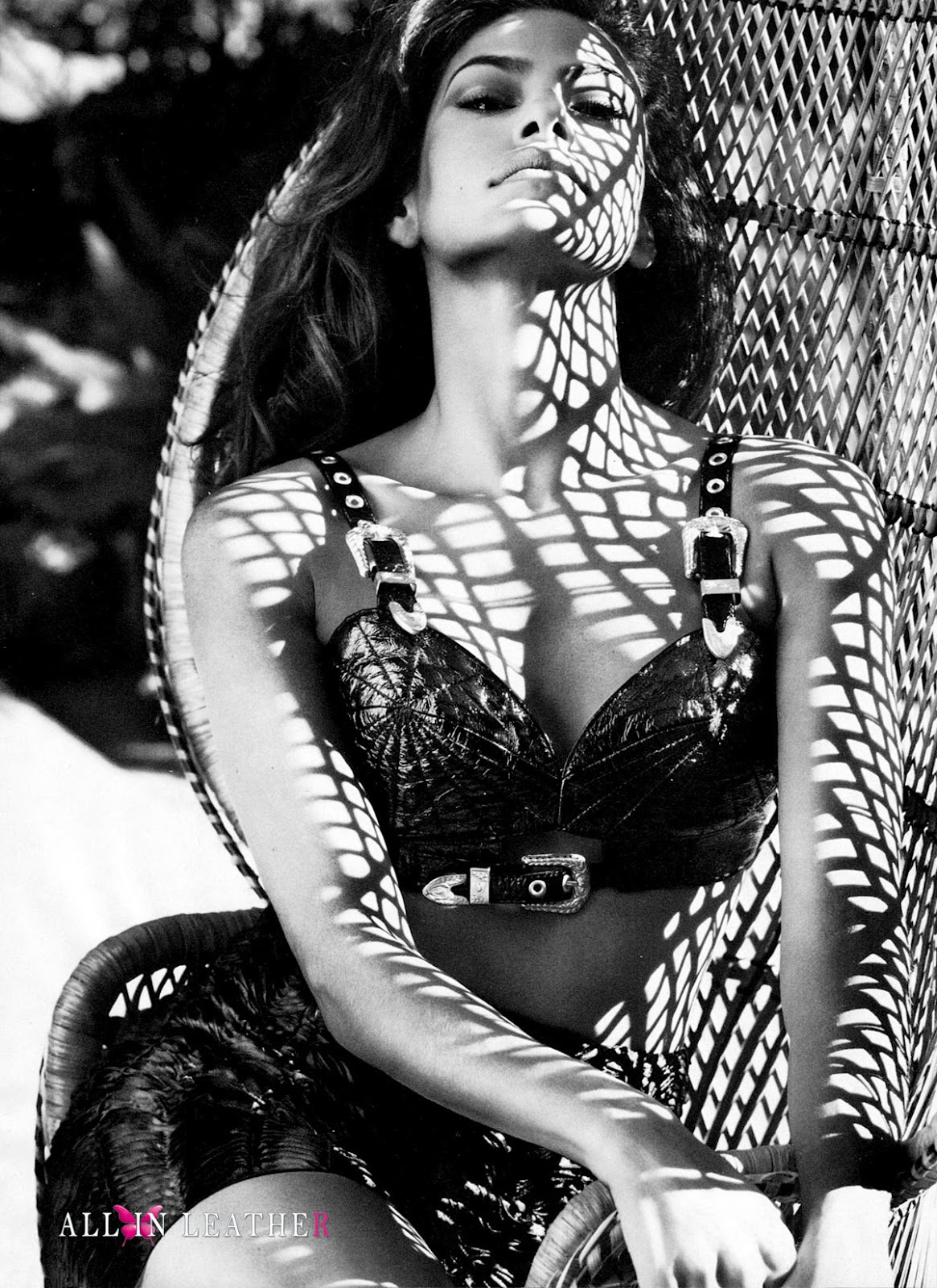 black & white, model, Eva Mendes, leather bra, Jeremy Scott, leather skirt, Ruffian, photoshoot, Txema Yeste, magazine, Marie Claire US, March, 2012