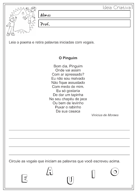 Atividades português 1 ano ensino fundamental