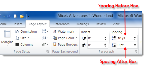 Page Layout in ms Word 2010 Layout' Tab of ms Word