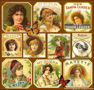collage vintage de etiquetas de publicidad antigua
