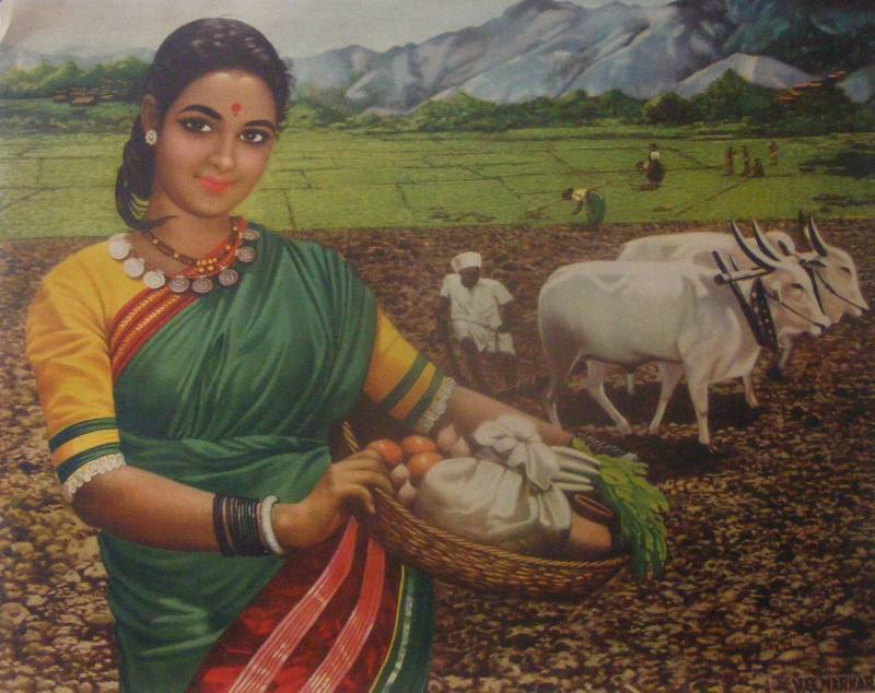 Indian village woman 1940 s vintage print old indian arts