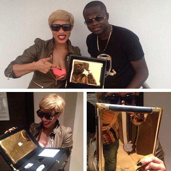 Tonto Dike shows off her Gold Plated MMacbook