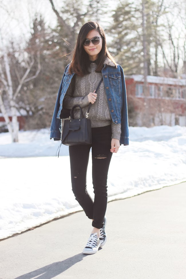 denim jacket, gray sweater, black ripped jeans, rebecca minkoff black mini tote, converse black sneakers, tom ford gray sunglasses, fashion blogger, street style, new york blogger, winter style, winter outfit