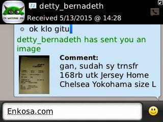 Konfirmasi pembayaran jersey oleh Detty Bernadeth