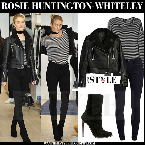 Rosie Huntington-Whiteley in leather jacket, stripe top and skinny jeans what she wore models off duty