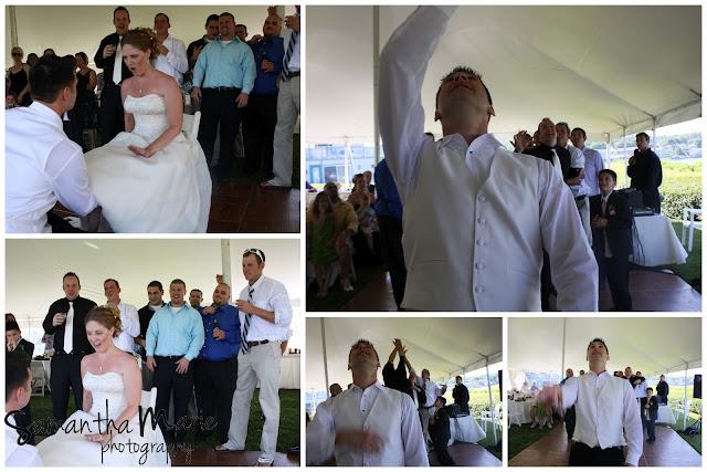 garter toss at the reception