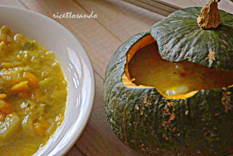 Zuppa vegetariana di zucca patate e porri