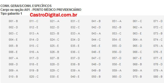 IMAGEM - Gabarito oficial do concurso do INSS 2011/2012 - Cargo Perito Médico Previdenciário - Tipo 01